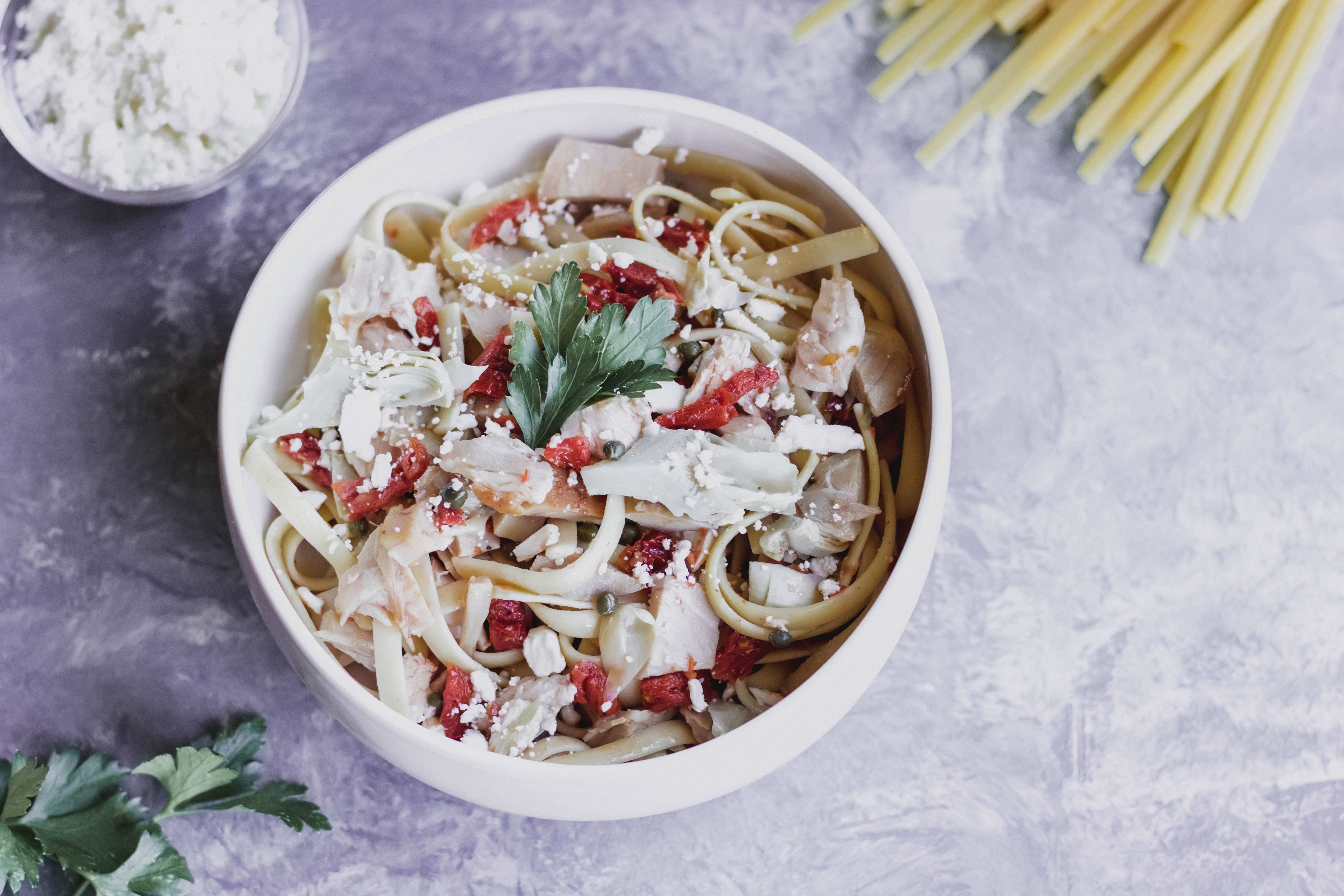 Mediterranean Chicken Pasta Salad With Feta Crumbles-1