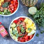 Chile Lime Chicken Quinoa Bowls with pineapple, avocado and bell pepper.