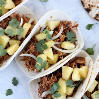 Slow Cooker Chipotle Honey Chicken Tacos