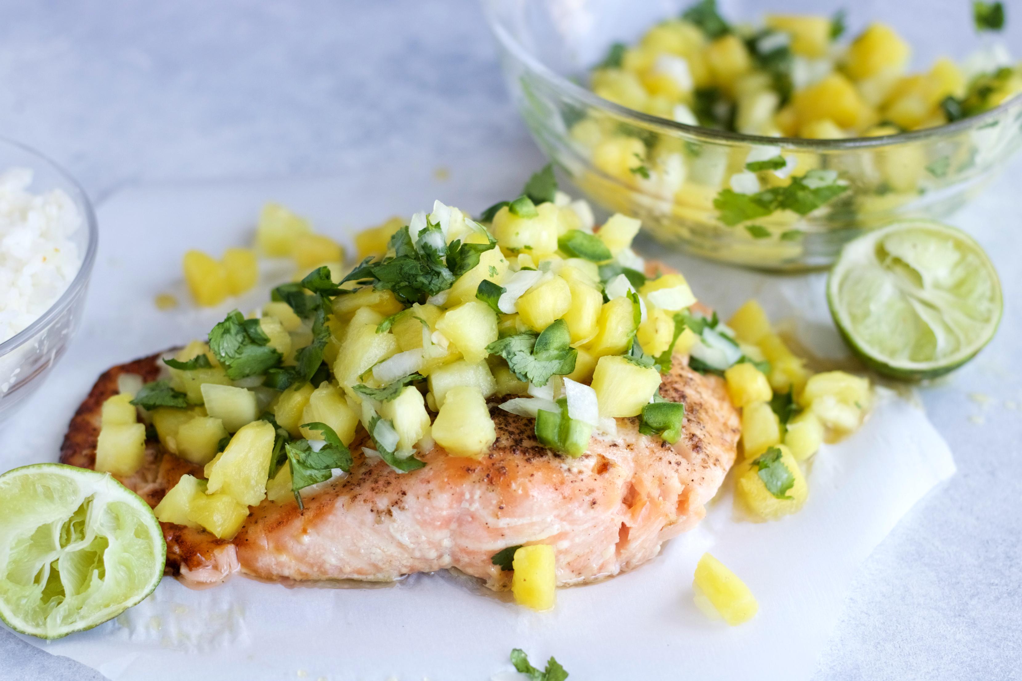 Grilled Salmon With Pineapple Jalapeño Salsa