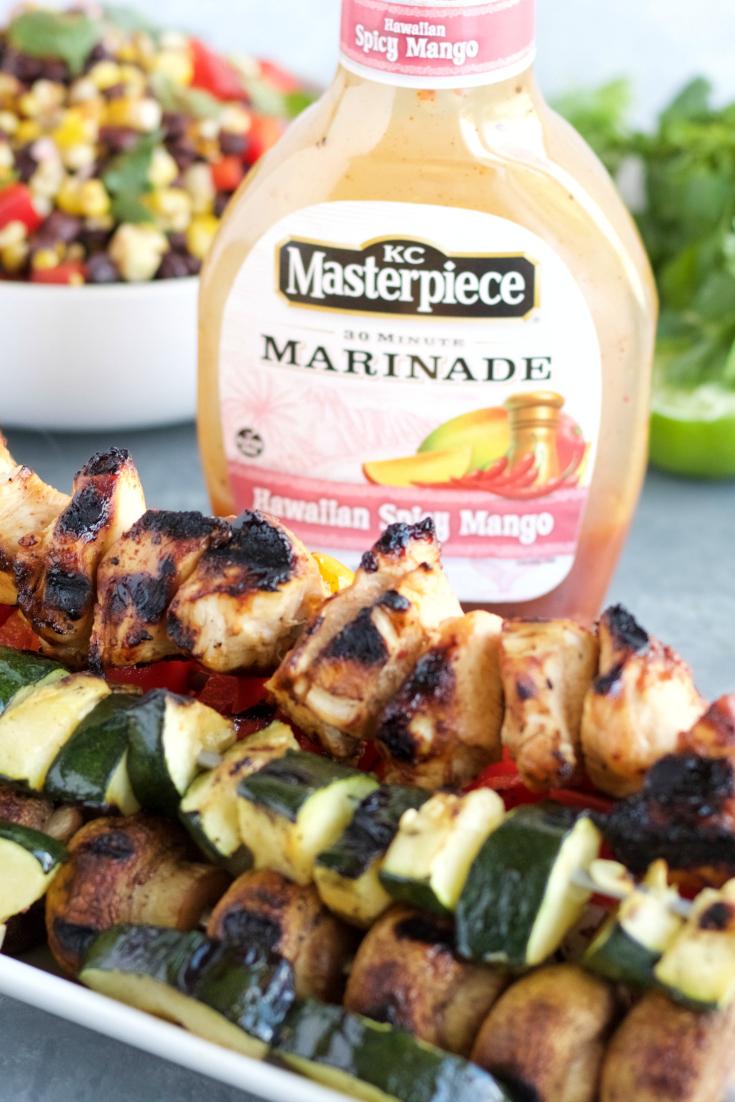 Hawaiian Spicy Mango Chicken & Veggie Kabobs
