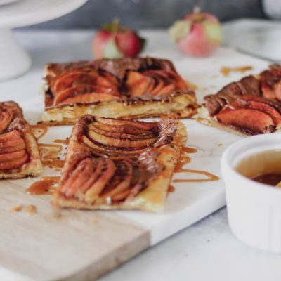 Honey Crisp Apple Tart With Caramel Sauce