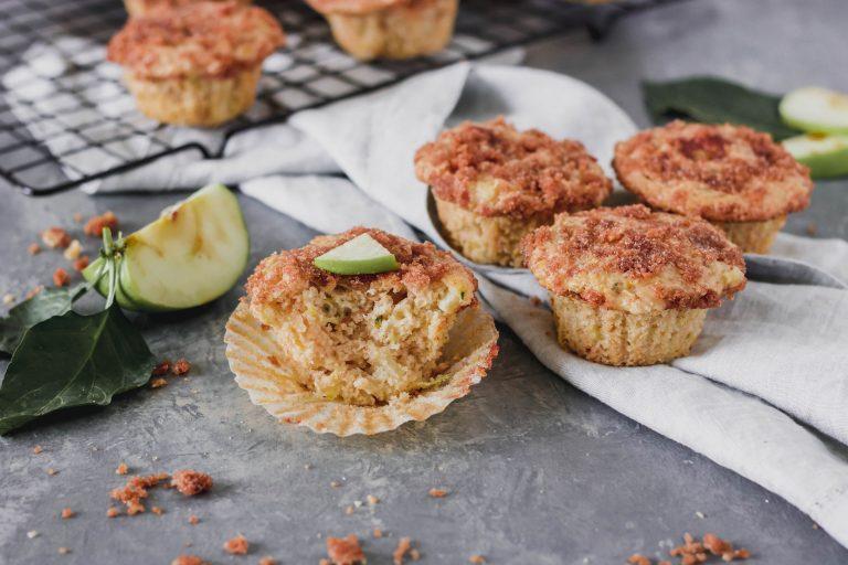 Apple Cinnamon Zucchini Muffins w/ Cinnamon Crumb Topping