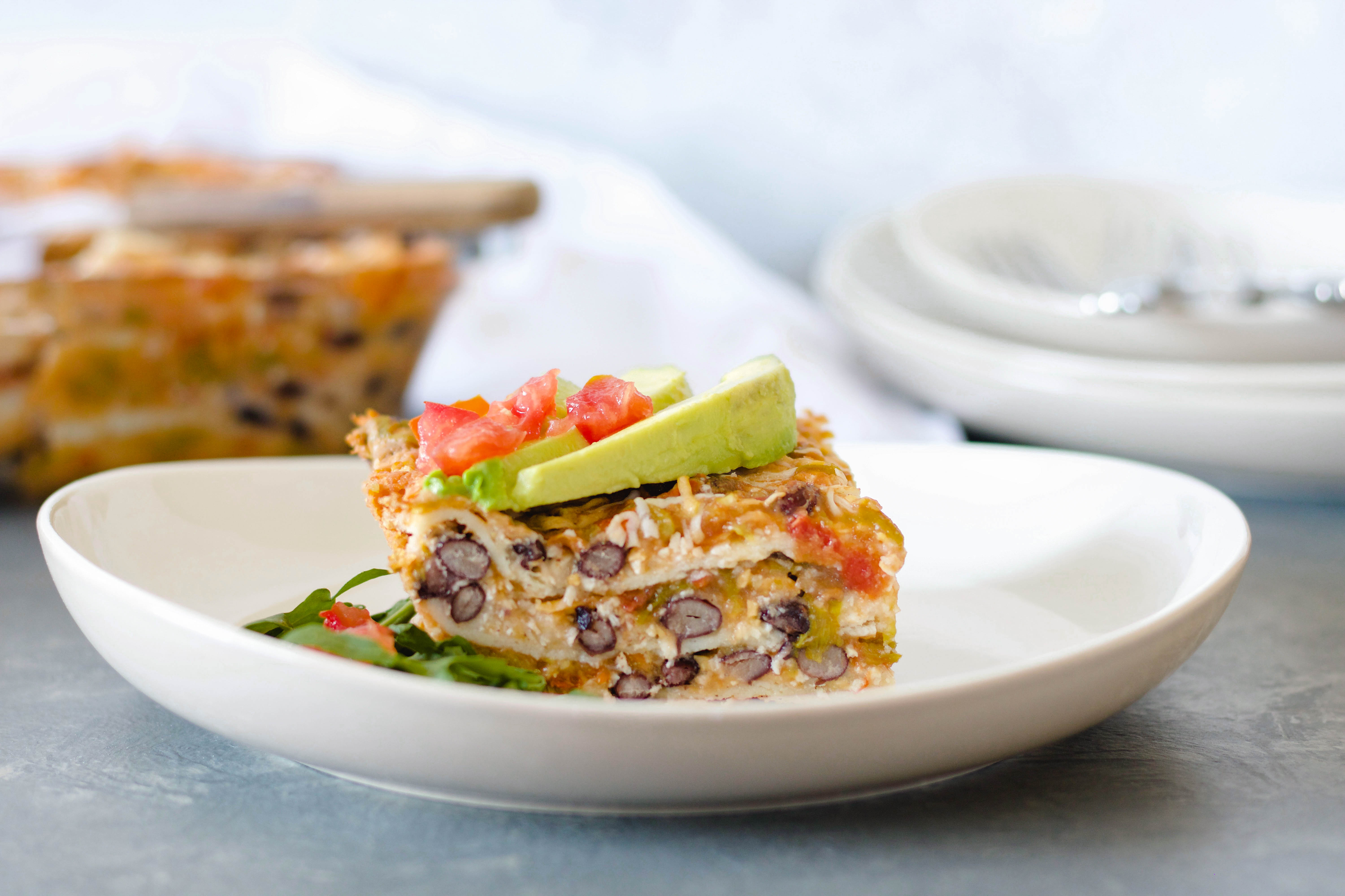Layered Green Chile Enchilada Casserole
