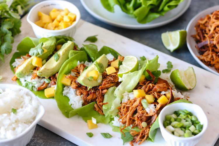 Sweet & Spicy Pulled Chicken Lettuce Wraps