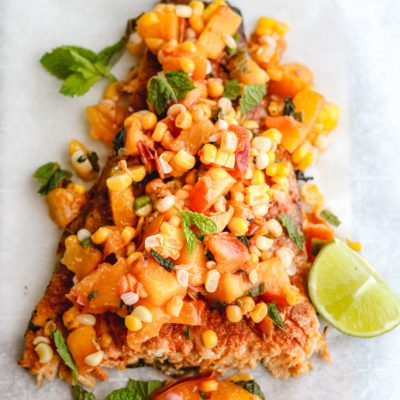 Grilled Chile Lime Salmon with Nectarine Corn Salsa