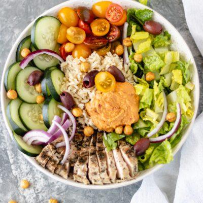 Mediterranean Chicken Hummus Bowls