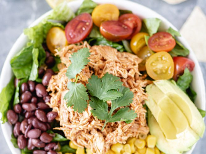 Loaded Taco Salad Bowls (with Salsa Chicken) - Blog-1