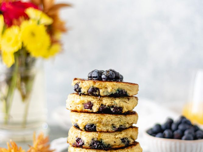 Blueberry Lemon Ricotta Pancakes (Grain-Free)