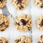 A group of soft and chewy Dark-Chocolate Chip Oatmeal Cookies.